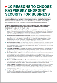 10 reasons to choose Kaspersky Endpoint Security For Business