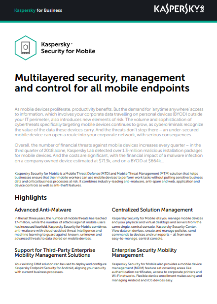 KASPERSKY SECURITY FOR MOBILE DATASHEET